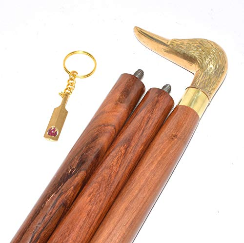 classical.gift.export Brass Designer Handle Walking Cane Victorian Designer Brass Duck Head Handle Wooden Walking Stick with Free Cricket Bet Key Ring by classical.gift.export