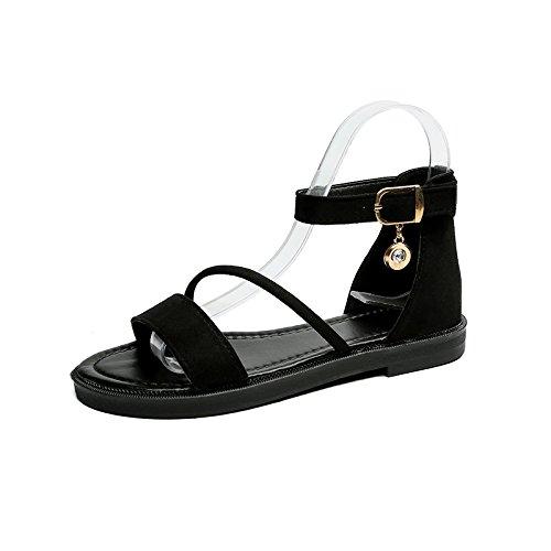 Las mujeres de verano sandalias zapatos Tacones impermeable negro,39 Black