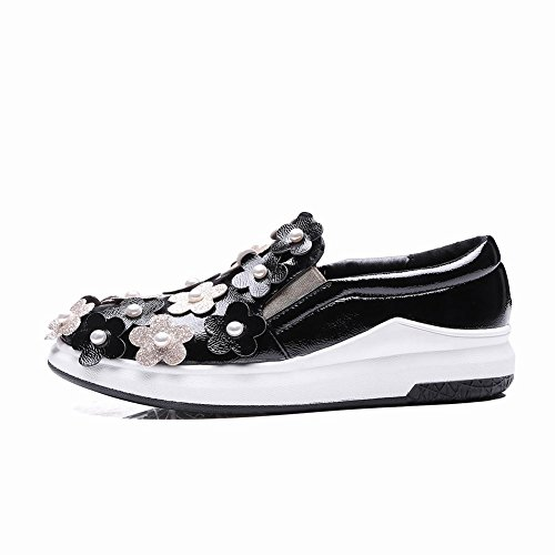Carolbar Womens Beaded Sequins Applique Fashion Casual Loafers Shoes Black z9wfu6