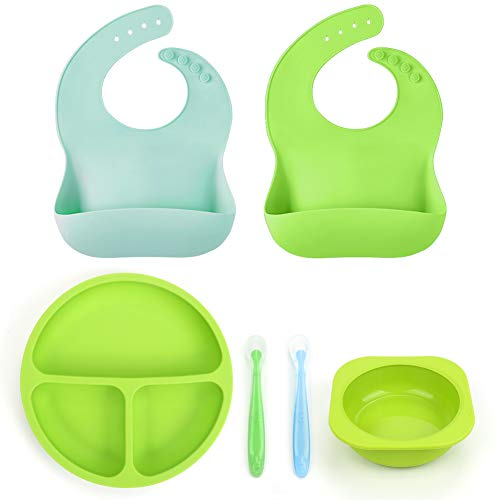 Baby Toddler Feeding Set, BPA Free Silicone Bibs Plates Bowls Spoons - Divided Plate Bowl & Soft Spoon Aids Self Feeding, Adjustable Food Catching Bib, Waterproof Spill Resistant, Baby Shower Gift Set (Infant Toddler Feeding Set)