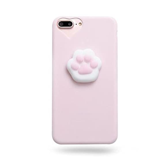 check out 6621c 74c9c Fuyamp Squishy Cute 3D Cat Paw iPhone 7 Case Soft Silicone Squishies Kawaii  Phone Back Cover for iPhone 7