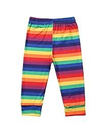 Aunavey Girls Rainbow Leggings Pants Stretch Printing Flower Toddler Leggings Kids