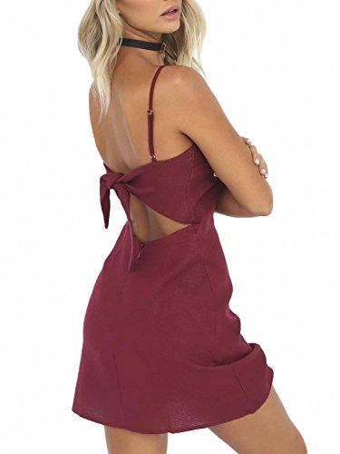 Berrygo Women's Sexy Cut Out Back Bow Spaghetti Strap Bodycon Mini Dress Wine - Back Mini Strap