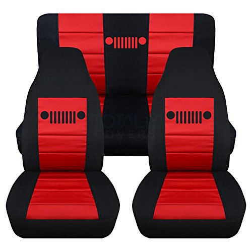 Totally Covers Fits 1997-2006 Jeep Wrangler TJ Seat Covers: Black & Red - Full Set: Front & Rear (23 Colors) 1998 1999 2000 2001 2002 2003 2004 2005 2-Door Complete Back Bench