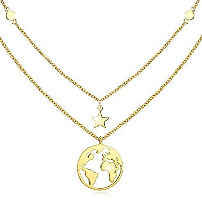 0dfb7c83914 cuoka Necklaces Globe Pendant Jewellery for Women Gifts for Girls 925  Sterling Silver Chain for Women 18
