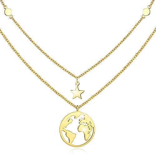 b23287b2595d Collar de oro con colgante de tierra para mujeres regalo para niñas plata  de ley 925 cadena para mujeres 45,72 cm con caja de regalo