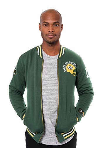 (ICER Brands NFL Green Bay Packers Men's Full Zip Fleece Vintage Letterman Varsity Jacket, X-Large, Green)