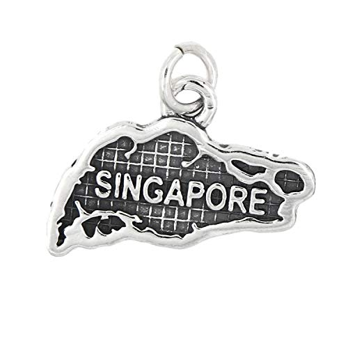 Sterling Silver Map of Singapore Travel Charm Jewelry Making Supply Pendant Bracelet DIY Crafting by Wholesale Charms for $<!--$42.47-->