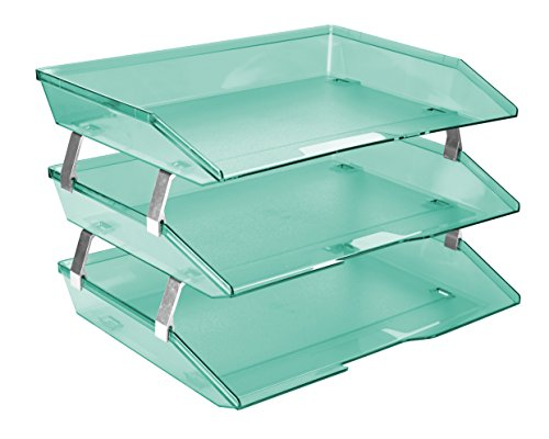 Acrimet Facility Triple Letter Tray (Clear Green Color) - File Letter Pad