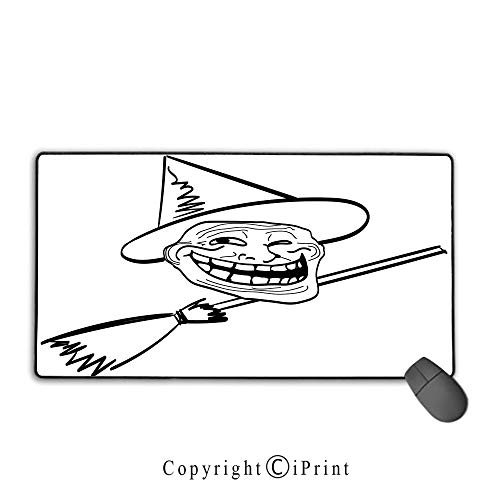 Stitched Edge Mouse pad,Humor Decor,Halloween Spirit Themed Witch Guy Meme LOL Joy Spooky Avatar Artful Image,Black White, Non-Slip Rubber Base,15.8