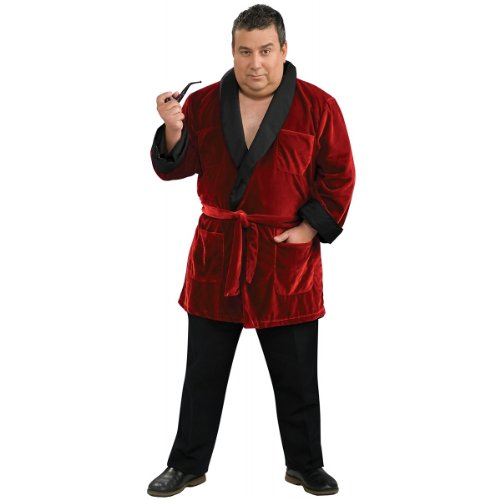 Secret Wishes Men's Playboy Smoking Jacket with Belt and Pipe Costume, Red, Plus (Black And Red Robe)