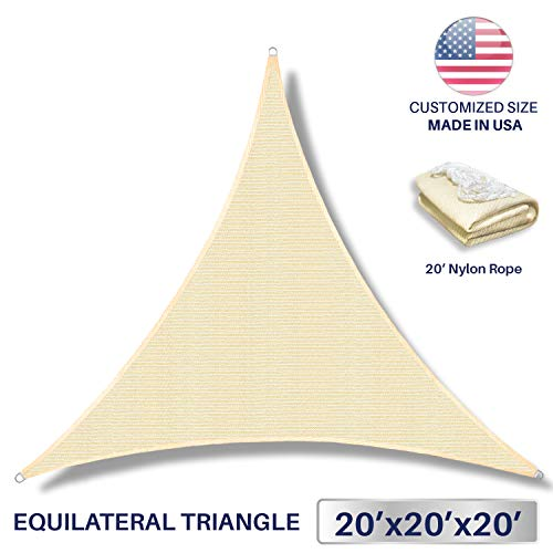 Windscreen4less 20 x 20 x 20 Sun Shade Sail Canopy in Beige with Commercial Grade 3 Year Warranty Customized