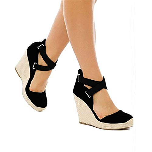 PiePieBuy Womens Mary Jane Wedge Heeled Pumps Espadrille Closed Toe Ankle Strap Sandals Black