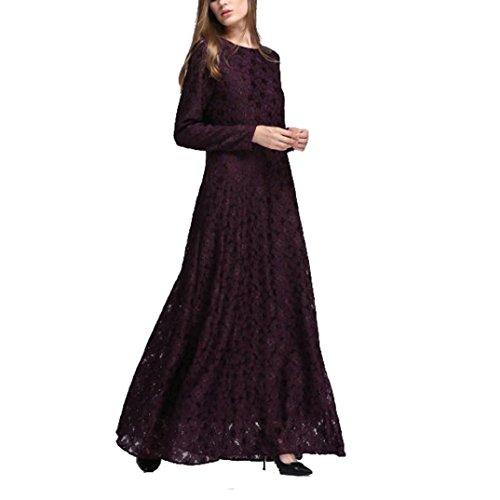 Beikoard Vestidos de Manga Larga de Las Mujeres, Encaje musulmán, Faldas largas para la adoración Vino
