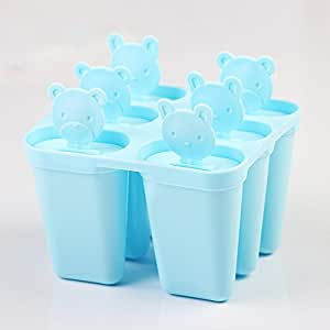 Fieans Home Nasessary Set of 6 Freezer Popsicle Mould Pop Maker Ice cream Molds with Holder-Blue