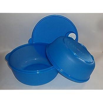 Tupperware CrystalWave 4 Qt Microwave Bowl and Colander Steamer in Blue