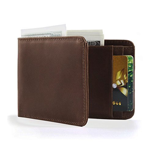 Eavann Men's Leather Wallet, RFID Blocking Slim Front Pocket Bifold Wallets (Texas - Cute Hipster Guys