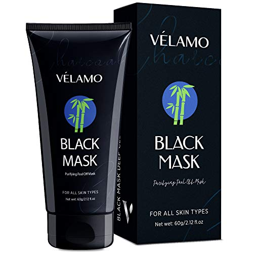 Velamo Blackhead Remover Mask, Purifying Peel Off Black Mask, Charcoal Black Mask, Deep Cleansing Facial Mask for Face and Nose, 60g