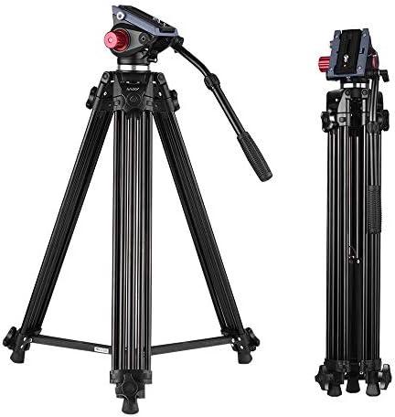 ANDOER 67 pulgadas Profesional Aluminio Aleación Trípode de cámara de vídeo de 1.7 M con cabeza