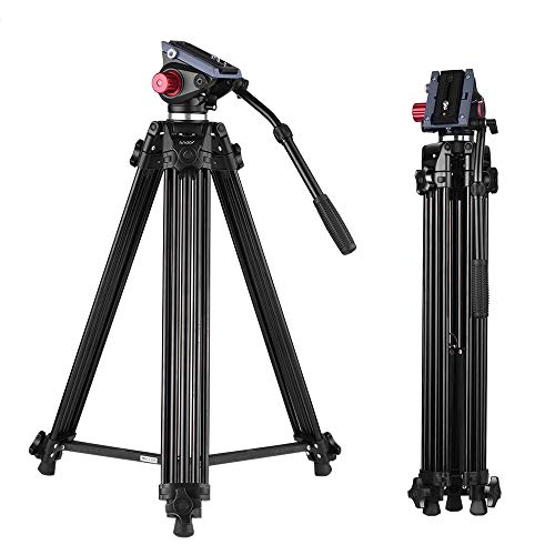 Andoer Professional Video Tripod System-67 Inch Professional Heavy Duty Aluminum Tripod with Detachable Fluid Drag Pan Tilt Head and Quick Release Plate Max Load 10kg/22lbs for Video Camcorder from Andoer
