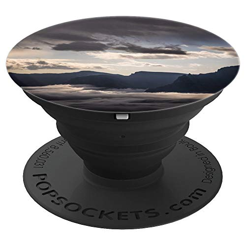 Panorama Landscape (Fog Morning Sunrise Dawn Landscape Panorama - PopSockets Grip and Stand for Phones and Tablets)