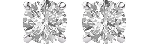 Charles & Colvard Forever One Moissanite Solitaire Earrings, Rhodium-Plated 14k White Gold (7MM) by The Men's Jewelry Store (for HER)