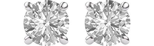 Charles & Colvard Forever One Moissanite Solitaire Earrings, Rhodium-Plated 14k White Gold (7MM) (55th Wedding Anniversary Symbol)
