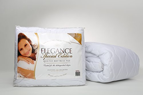 """Elegance Quilted Pillow (Queen Size Quilted Mattress Pad, Triple-Layered & Hypoallergenic, Fits up to 21"""" Mattress with Dust Mite Barrier, Made in USA)"""