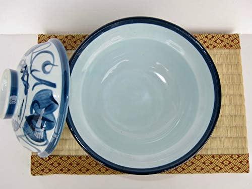TR59460 Ramen Noodle Soup Rice Bowl with Lid Japanese 6.14inch Diameter Porcelain Navy ivy Donburi