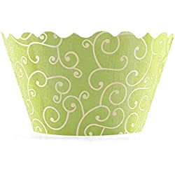 Bella Couture Mini Olivia Swirl Cupcake Wrappers, Chartreuse/Yellow