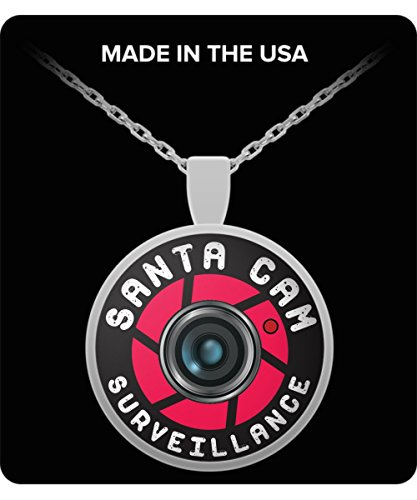 Santa Cam Necklace - Christmas Sterling Silver Ornament Gift - Woman Jewellery - Elf Spy Camera for Parents Kids Son Daughter Mother Mom Dad Father Grandmother Grandfather Nana - Red Angel (Halloween Catholic Story)