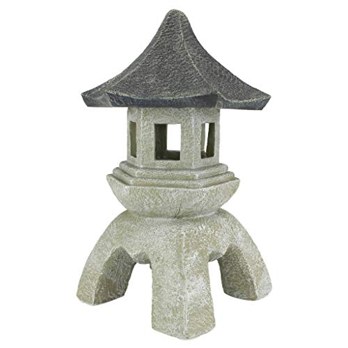 - Design Toscano Asian Decor Pagoda Lantern Outdoor Statue, Large 17 Inch, Polyresin, Two Tone Stone (Renewed)