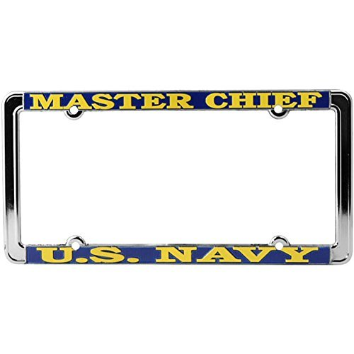 Honor Country US Navy Master Chief License Plate Frame, Thin Rim ()