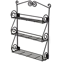 Metal Wall Mountable Black Scroll Kitchen Spice Rack, New