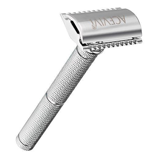 ACEVIVI Double Edge Long Handled Safety Razor for Men + 5 Premium Blades, Gift Set. Expertly Weighted For The Best Possible Shave,the Best Shaving Razor. Great Mens Gift (Edge Razor Premium)