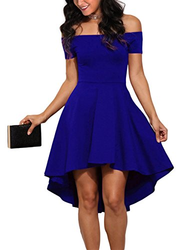 Sidefeel Women Off Shoulder Short Sleeve High Low Skater Dress Medium Blue