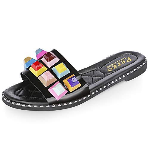 KCatsy Outdoor Open Toe Rivet Rhinestones Slip-on Flat Sandal Women Mules Slippers Black (Sandals Womens Bongo)
