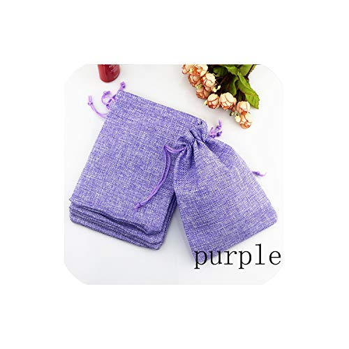 50Pcs/Pack (15X20Cm) Vintage Natural Burlap Gift Candy Bag Wedding Party Favor Pouch Birthday Supplies Drawstrings Jute Gift Bag,Purple,10X14Cm