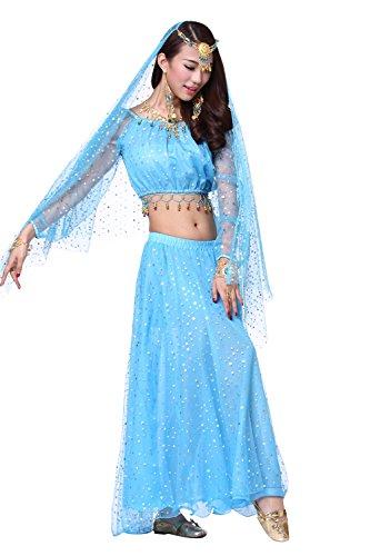 Danza del vientre Disfraz Set Exotic Acuñar Top+Mesh larga Falda Light Blue
