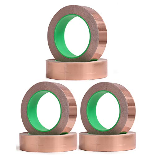 Copper Foil Tape with Double Sided Conductive Adhesive 6 Rolls (6mmx10m) - Electrical Repairs, Slug Repellent, EMI Shielding, Stained Glass, Crafts, Grounding