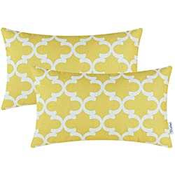 CaliTime Pack of 2 Soft Canvas Bolster Pillow Covers Cases for Couch Sofa Home Decor Modern Quatrefoil Accent Geometric 12 X 20 Inches Bright Yellow