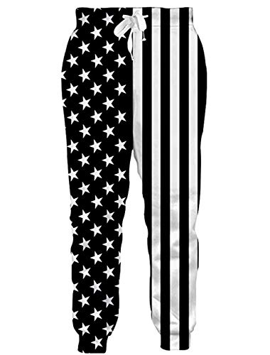 RAISEVERN Unisex Sweatpants American Flag Funny Joggers Pants Black&White Stars Striped Jogging Trousers Sportswear with Drawstring for Men Women -