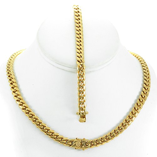Solid 14k Yellow Gold Finish Stainless Steel 8mm Thick Miami Cuban Link Chain Box Clasp Lock (Chain 24'' & Bracelet 9'') 14k Yellow Gold Mens Link