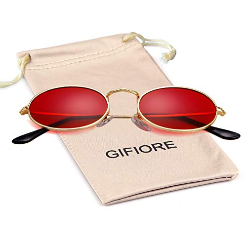 Vintage Sunglasses Retro Oval Designer Sunglasses For Women Men (Gold Frame Red Lens, 42) (Men Oval For Sunglasses)