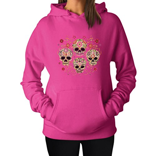 Rose Eye Sugar Skulls - Day of The Dead Gothic Women's Hoodie Medium Pink (Pink Hoodie Skull)