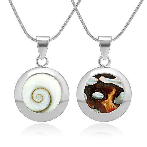 Chuvora 925 Sterling Silver White Shiva Eye and South African Turban Shell Reversible Necklace, 18 inches