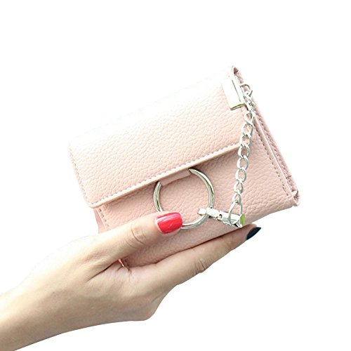 Kukoo Women Leather Wallet Short Trifold Purse Punk Style Chain Lock Clutch Bag Credit Card Holder by Kukoo