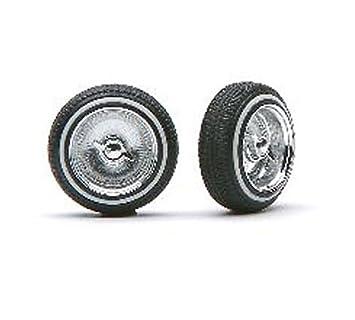 Deep Dish Chrome Spoke Rims w/Knock Offs & Dunlop Rubber Tires (4)