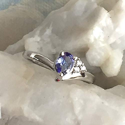Small Sz 5.75, GENUINE TANZANITE Blue/Lavender Gemstone and Cubic Zirconia, 925 Sterling Silver, Gracious Engagement Ring Jewelry