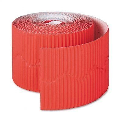 Corrugated Scalloped Border - Pacon Products - Pacon - Bordette Decorative Border, 2 1/4 x 50' Roll, Flame Red - Sold As 1 Roll - Festive; ideal for bulletin and display boards. - Corrugated, scalloped design - Rich, fade-resista
